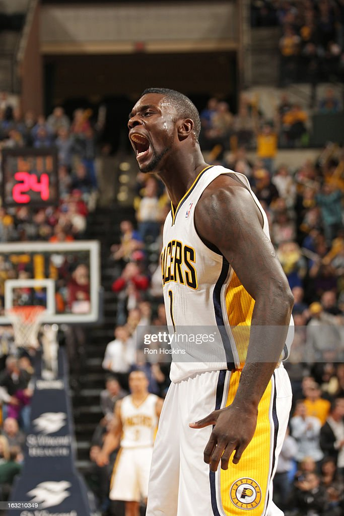 <a gi-track='captionPersonalityLinkClicked' href=/galleries/search?phrase=Lance+Stephenson&family=editorial&specificpeople=5298304 ng-click='$event.stopPropagation()'>Lance Stephenson</a> #1 of the Indiana Pacers yells on the court during the game against the Los Angeles Clippers on February 28, 2013 at Bankers Life Fieldhouse in Indianapolis, Indiana.