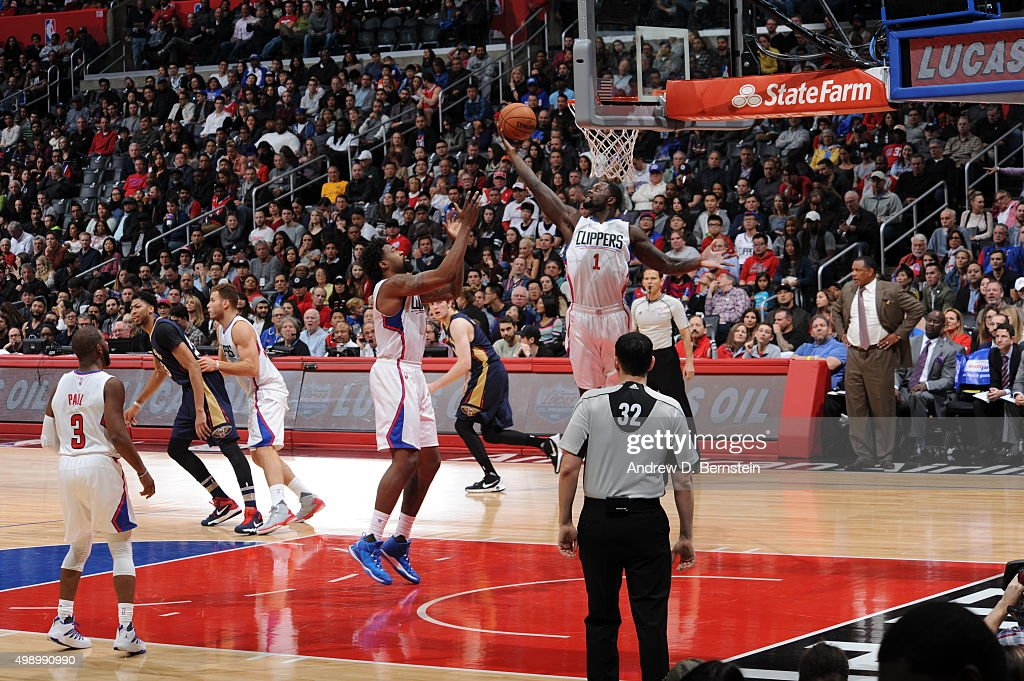 Lance Stephenson #1 of the Los Angeles Clippers grabs the rebound against the New Orleans Pelicans on November 27, 2015 at STAPLES Center in Los Angeles, California.