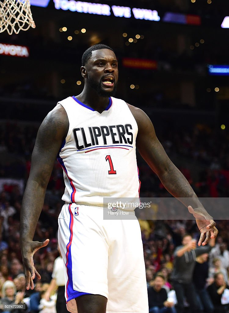 Lance Stephenson of the Los Angeles Clippers reacts after his dunk during a 10593 win over the Los Angeles Lakers at Staples Center on January 29...