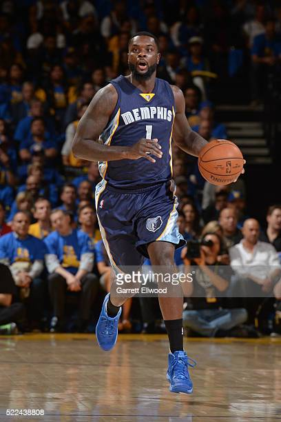 Lance Stephenson of the Memphis Grizzlies dribbles the ball against the Golden State Warriors on April 13 2016 at Oracle Arena in Oakland California...