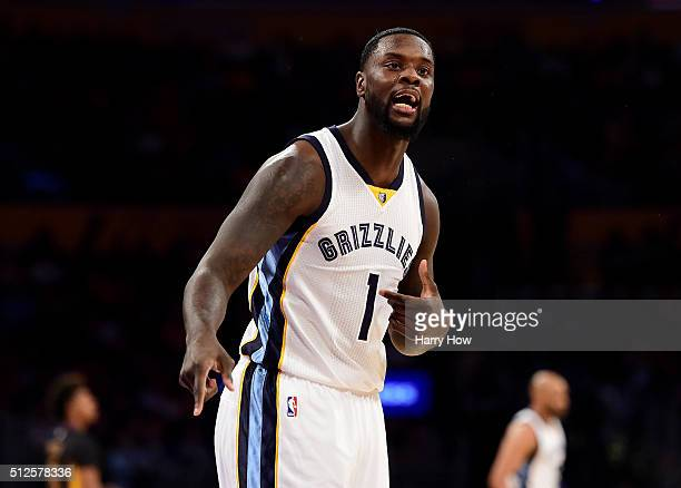 Lance Stephenson of the Memphis Grizzlies reacts after his foul during the first half against the Los Angeles LakerLos Angeles Kingsat Staples Center...