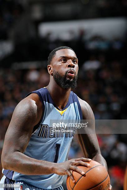 Lance Stephenson of the Memphis Grizzlies shoots a free throw against the San Antonio Spurs on March 25 2016 at the ATT Center in San Antonio Texas...