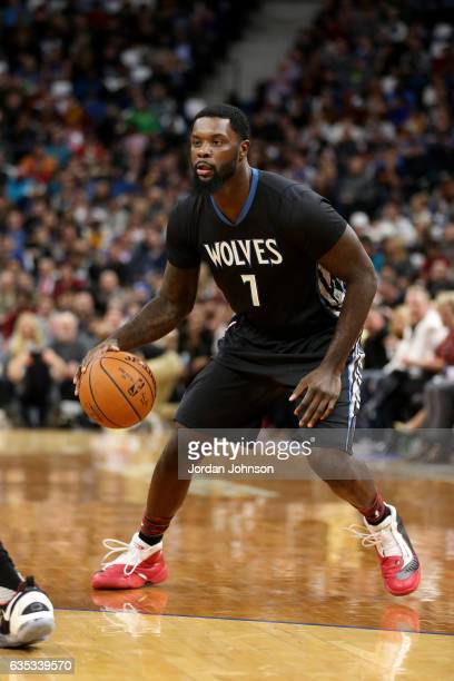 Lance Stephenson of the Minnesota Timberwolves handles the ball against the Cleveland Cavaliers on February 14 2017 at Target Center in Minneapolis...