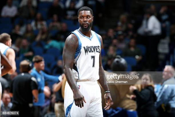 Lance Stephenson of the Minnesota Timberwolves looks on during the game against the New Orleans Pelicans on February 10 2017 at Target Center in...
