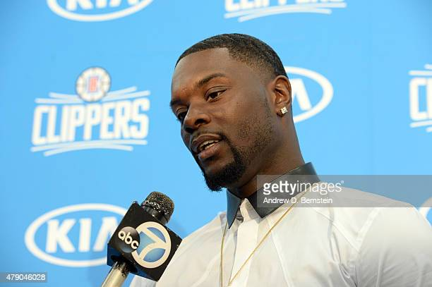 Lance Stephenson talks to the media at the Los Angeles Clippers training facility in Playa Vista California on June 18 2015 NOTE TO USER User...