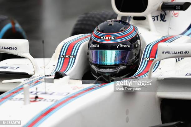 Lance Stroll of Canada and Williams in parc ferme after qualifying for the Formula One Grand Prix of Italy at Autodromo di Monza on September 2 2017...