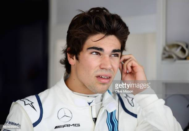 Lance Stroll of Canada and Williams prepares to drive in the garage during final practice for the United States Formula One Grand Prix at Circuit of...