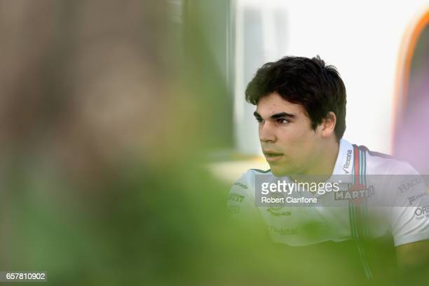Lance Stroll of Canada and Williams sits in the Paddock during the Australian Formula One Grand Prix at Albert Park on March 26 2017 in Melbourne...