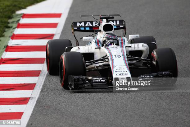 Lance Stroll of Canada driving the Williams Martini Racing Williams FW40 Mercedes on track during day two of Formula One winter testing at Circuit de...