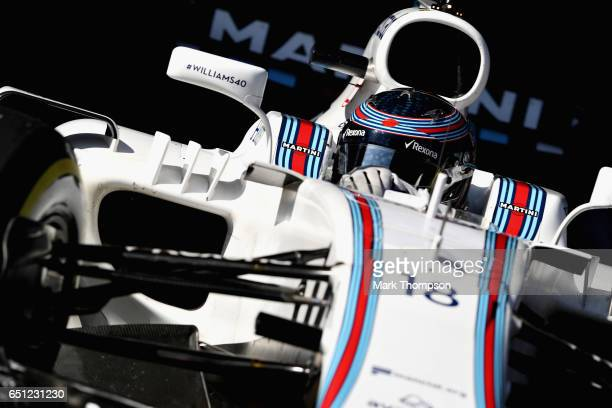 Lance Stroll of Canada driving the Williams Martini Racing Williams FW40 Mercedes leaves the pits during the final day of Formula One winter testing...