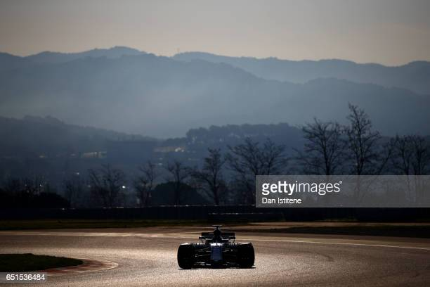 Lance Stroll of Canada driving the Williams Martini Racing Williams FW40 Mercedes on track during the final day of Formula One winter testing at...