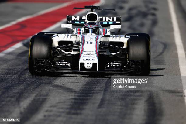 Lance Stroll of Canada driving the Williams Martini Racing Williams FW40 Mercedes in the Pitlane during the final day of Formula One winter testing...