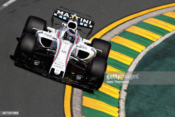 Lance Stroll of Canada driving the Williams Martini Racing Williams FW40 Mercedes on track during practice for the Australian Formula One Grand Prix...