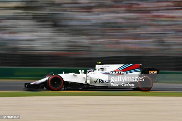 Lance Stroll of Canada driving the Williams Martini Racing Williams FW40 Mercedes on track during final practice for the Australian Formula One Grand...
