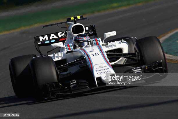 Lance Stroll of Canada driving the Williams Martini Racing Williams FW40 Mercedes on track during the Australian Formula One Grand Prix at Albert...