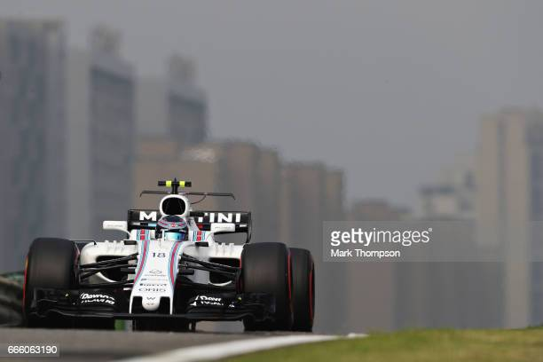 Lance Stroll of Canada driving the Williams Martini Racing Williams FW40 Mercedes on track during qualifying for the Formula One Grand Prix of China...