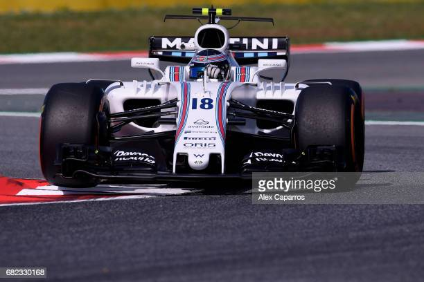Lance Stroll of Canada driving the Williams Martini Racing Williams FW40 Mercedes on track during practice for the Spanish Formula One Grand Prix at...