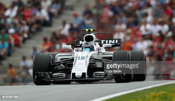 Lance Stroll of Canada driving the Williams Martini Racing Williams FW40 Mercedes on track during qualifying for the Formula One Grand Prix of...