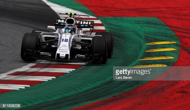 Lance Stroll of Canada driving the Williams Martini Racing Williams FW40 Mercedes on track during the Formula One Grand Prix of Austria at Red Bull...