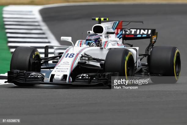 Lance Stroll of Canada driving the Williams Martini Racing Williams FW40 Mercedes on track during practice for the Formula One Grand Prix of Great...