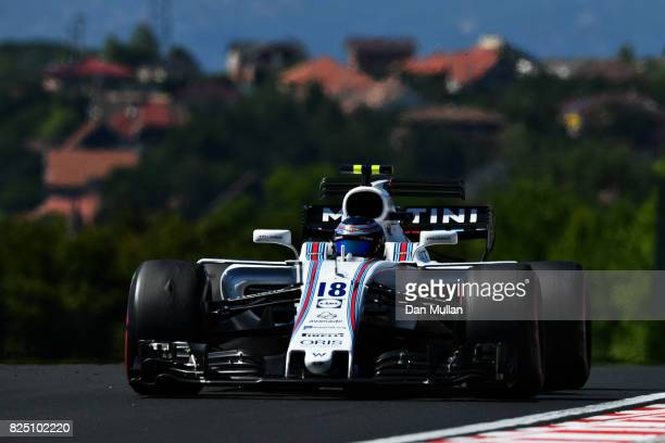 Lance Stroll of Canada driving the Williams Martini Racing Williams FW40 Mercedes on track during the Formula One Grand Prix of Hungary at...