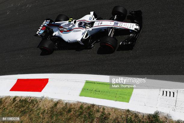 Lance Stroll of Canada driving the Williams Martini Racing Williams FW40 Mercedes on track during practice for the Formula One Grand Prix of Italy at...