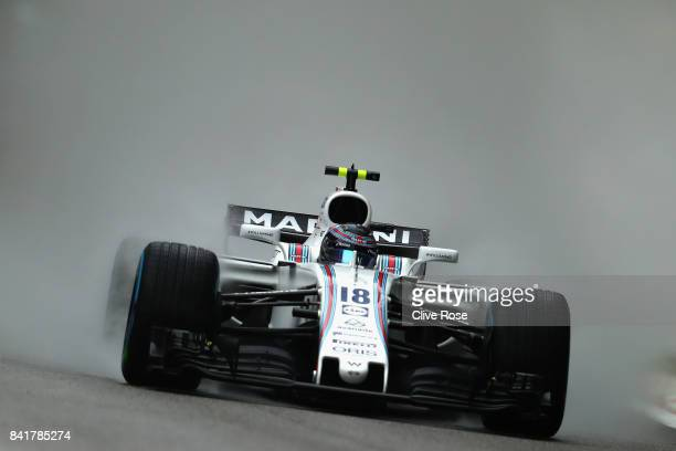 Lance Stroll of Canada driving the Williams Martini Racing Williams FW40 Mercedes on track during final practice for the Formula One Grand Prix of...