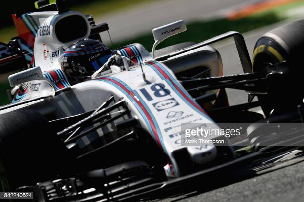 Lance Stroll of Canada driving the Williams Martini Racing Williams FW40 Mercedes on track during the Formula One Grand Prix of Italy at Autodromo di...