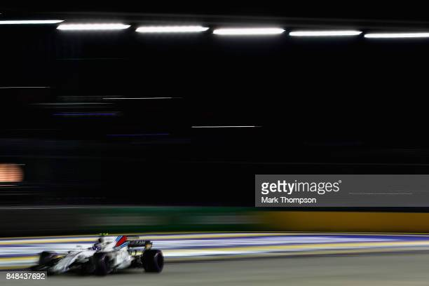 Lance Stroll of Canada driving the Williams Martini Racing Williams FW40 Mercedes on track during the Formula One Grand Prix of Singapore at Marina...