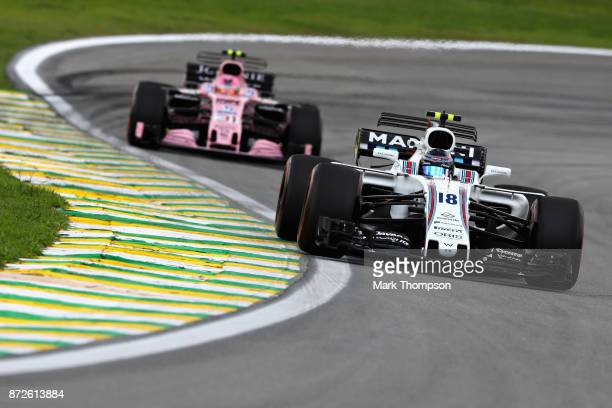 Lance Stroll of Canada driving the Williams Martini Racing Williams FW40 Mercedes on track during practice for the Formula One Grand Prix of Brazil...