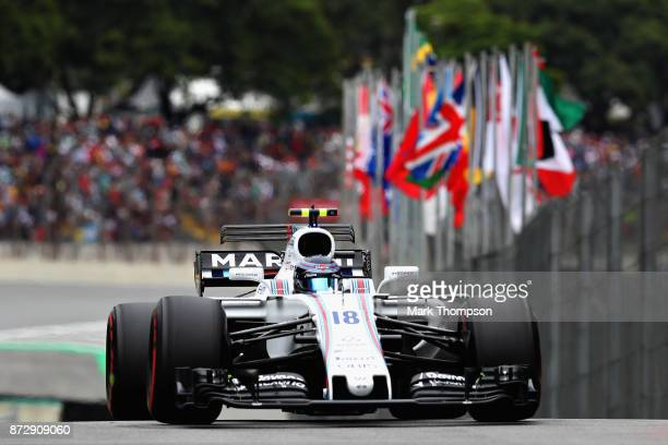 Lance Stroll of Canada driving the Williams Martini Racing Williams FW40 Mercedes in the Pitlane during qualifying for the Formula One Grand Prix of...
