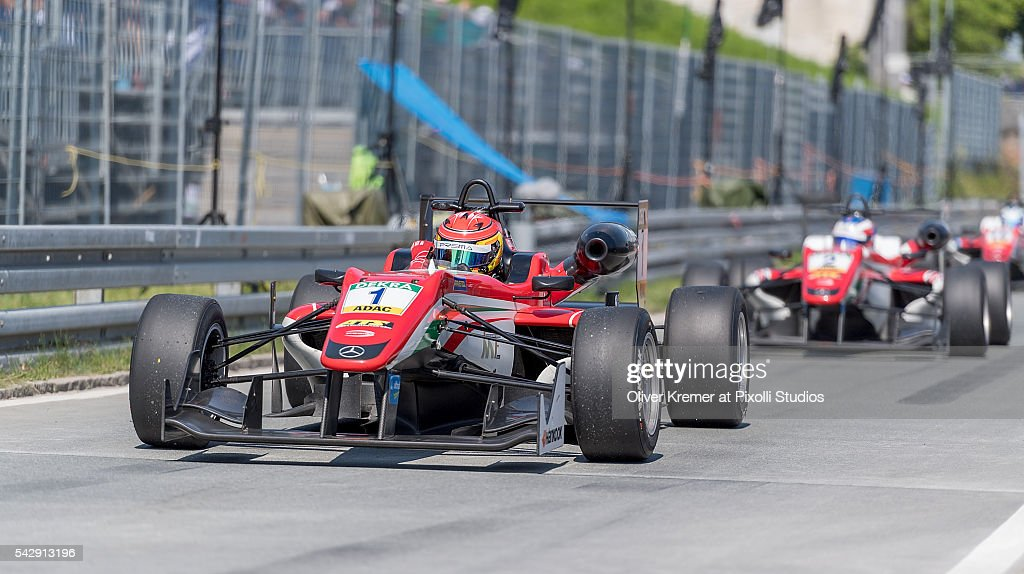 Lance Stroll (CAN) of Prema Powerteam finishes first place and on his way to the parc ferme after the FIA Formula 3 European Championship race at the Norisring during Day 2 of the 74. International ADAC Norisring Speedweekend on June 25, 2016 in Nuremberg, Germany.
