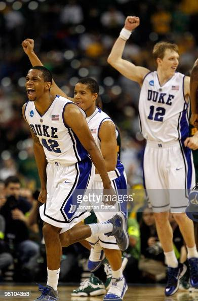 Lance Thomas Andre Dawkins and Kyle Singler of the Duke Dlue Devils celebrate a win over the Baylor Bears during the south regional final of the 2010...
