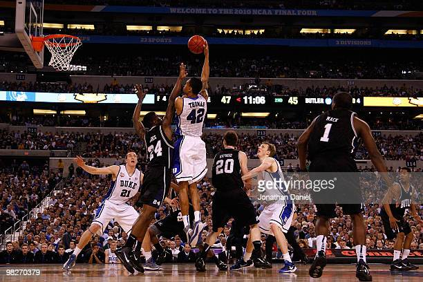 Lance Thomas of the Duke Blue Devils attempts a shot in the second half against Avery Jukes of the Butler Bulldogs during the 2010 NCAA Division I...