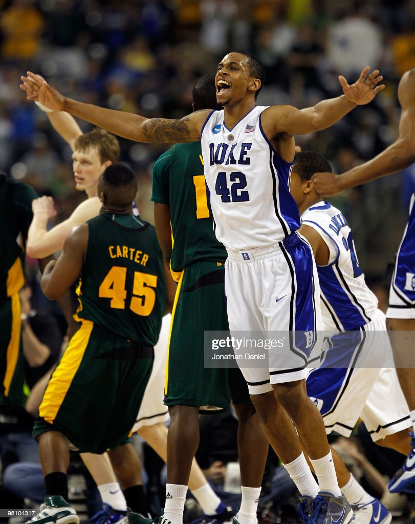 Lance Thomas of the Duke Dlue Devils celebrates a win over the Baylor Bears during the south regional final of the 2010 NCAA men's basketball...