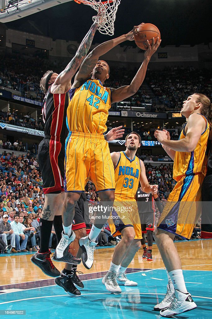 <a gi-track='captionPersonalityLinkClicked' href=/galleries/search?phrase=Lance+Thomas&family=editorial&specificpeople=3847256 ng-click='$event.stopPropagation()'>Lance Thomas</a> #42 of the New Orleans Hornets drives to the basket against the Miami Heat on March 29, 2013 at the New Orleans Arena in New Orleans, Louisiana.