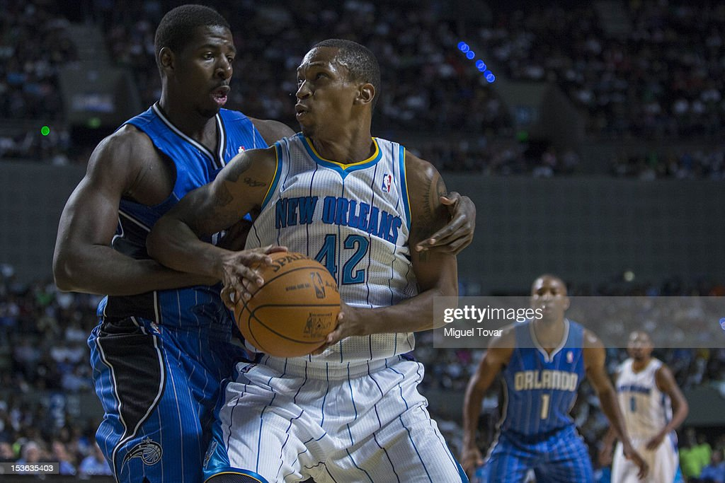 <a gi-track='captionPersonalityLinkClicked' href=/galleries/search?phrase=Lance+Thomas&family=editorial&specificpeople=3847256 ng-click='$event.stopPropagation()'>Lance Thomas</a> #42 of the New Orleans Hornets gestures as Andrew Nicholson #44 of the Orlando Magic defends during the game between the Orlando Magic and the New Orleans Hornets on October 7, 2012 at Mexico City Arena in Mexico City.