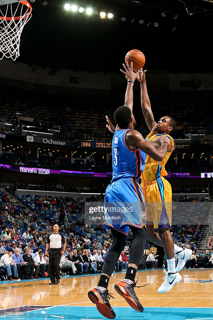 <a gi-track='captionPersonalityLinkClicked' href=/galleries/search?phrase=Lance+Thomas&family=editorial&specificpeople=3847256 ng-click='$event.stopPropagation()'>Lance Thomas</a> #42 of the New Orleans Hornets shoots against Perry Jones III #3 of the Oklahoma City Thunder on November 16, 2012 at the New Orleans Arena in New Orleans, Louisiana.