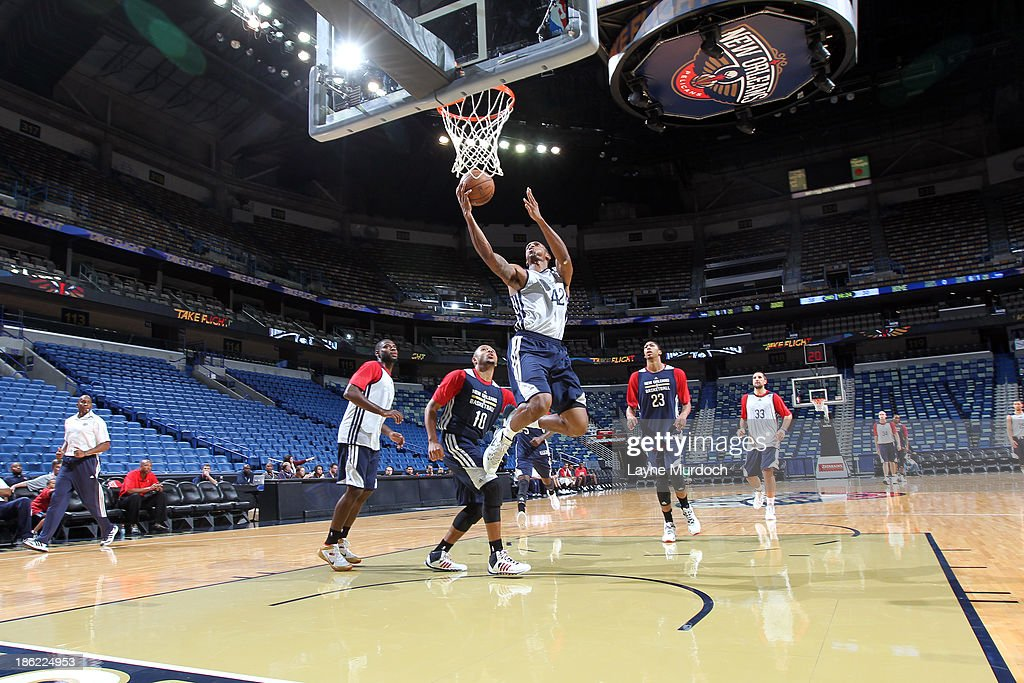 Lance Thomas #42 of the New Orleans Pelicans participates in an open scrimmage on October 25, 2013 at the New Orleans Arena in New Orleans, Louisiana.