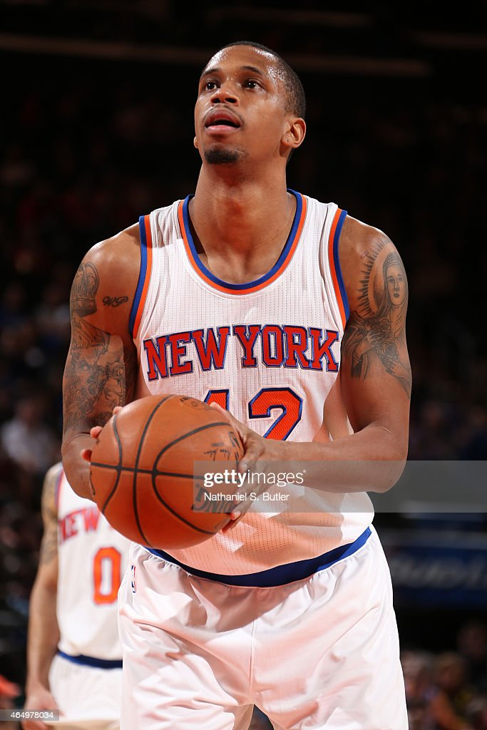 Lance Thomas of the New York Knicks attempts a free throw against the Toronto Raptors on February 28 2015 at Madison Square Garden in New York City...