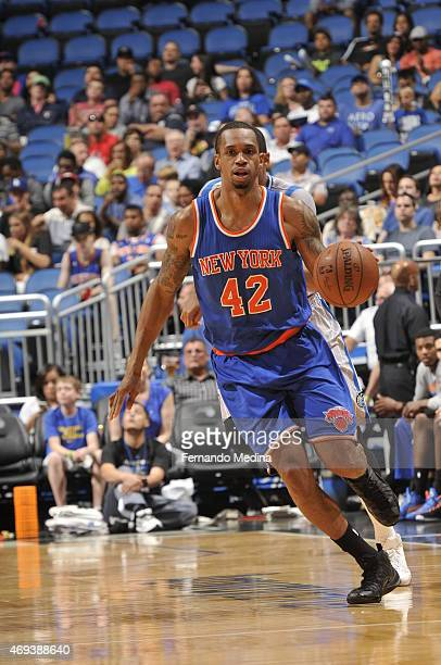 Lance Thomas of the New York Knicks brings the ball up court against the Orlando Magic on April 11 2015 at Amway Center in Orlando Florida NOTE TO...