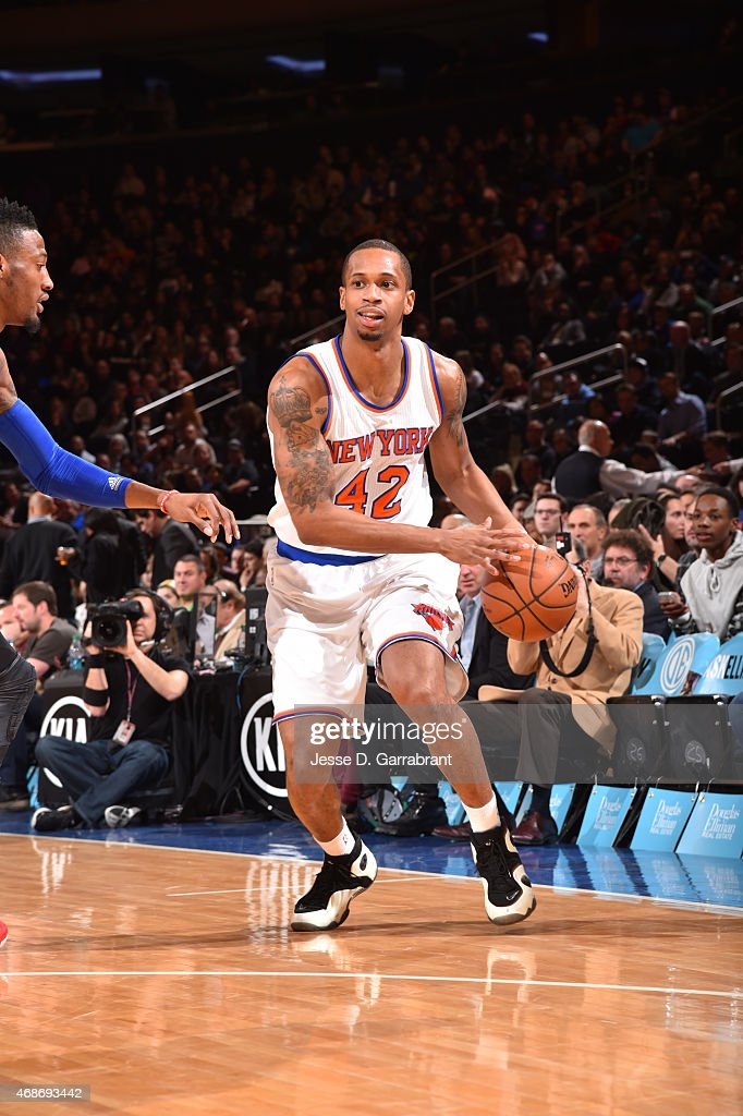 Lance Thomas of the New York Knicks dribbles up court against the Philadelphia 76ers at Madison Square Garden on April 5 2015 in New York New York...