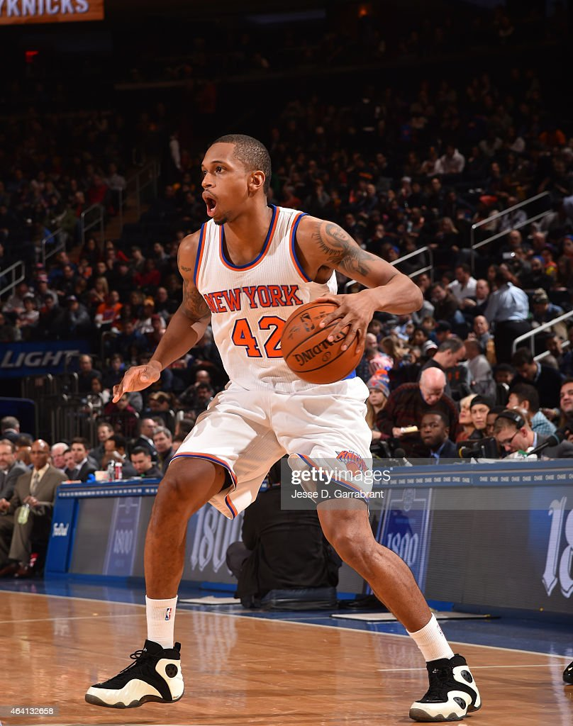Lance Thomas of the New York Knicks dribbles up the court against the Cleveland Cavilers on February 22 2015 at Madison Square Garden in New York...