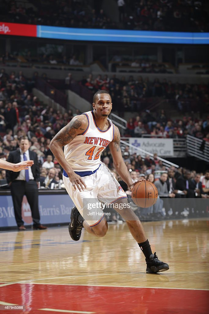 Lance Thomas of the New York Knicks drives to the basket against the Chicago Bulls on March 28 2015 at the United Center in Chicago Illinois NOTE TO...