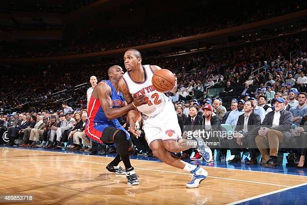 Lance Thomas of the New York Knicks drives to the basket against the Detroit Pistons on April 15 2015 at Madison Square Garden in New York City NOTE...