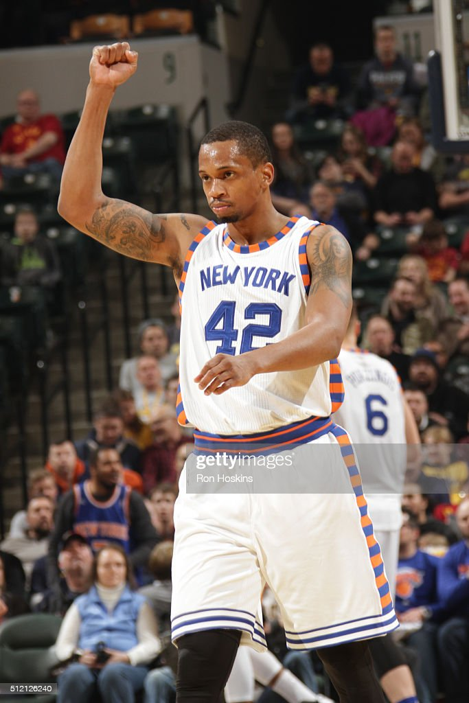 Lance Thomas of the New York Knicks during the game against the Indiana Pacers on February 24 2016 at Bankers Life Fieldhouse in Indianapolis Indiana...