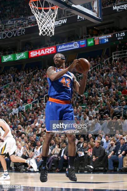 Lance Thomas of the New York Knicks grabs the rebound against the Utah Jazz on March 22 2017 at vivintSmartHome Arena in Salt Lake City Utah NOTE TO...