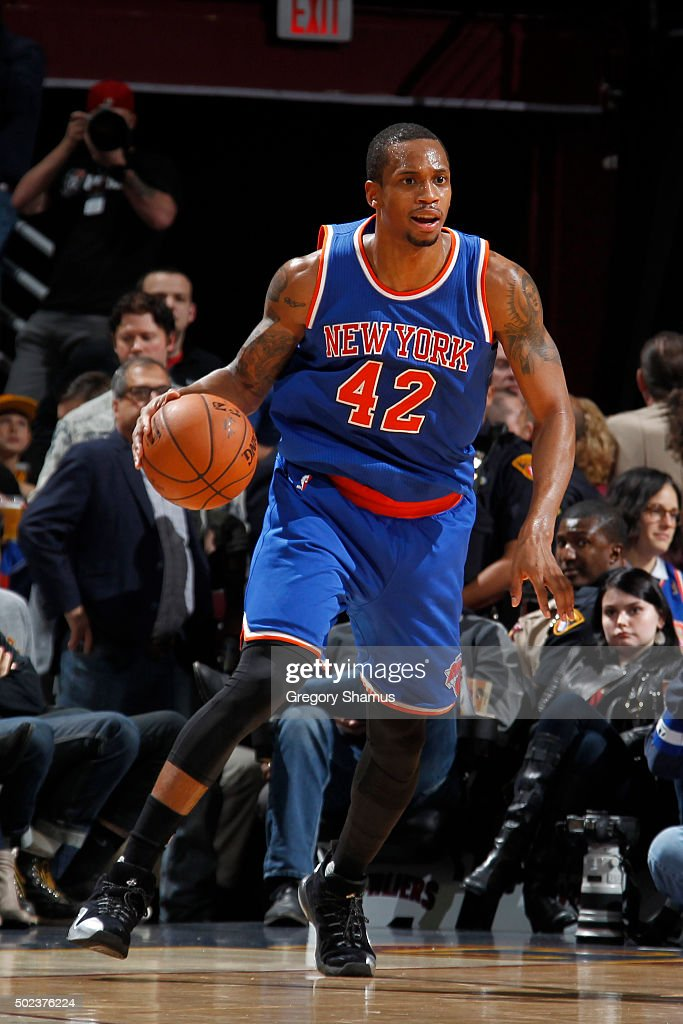Lance Thomas of the New York Knicks handles the ball against the Cleveland Cavaliers on December 23 2015 at Quicken Loans Arena in Cleveland Ohio...