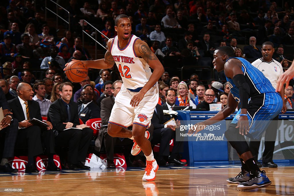 Lance Thomas of the New York Knicks handles the ball against the Orlando Magic during the game on January 23 2015 at Madison Square Garden in New...