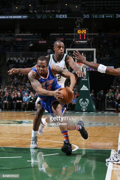 Lance Thomas of the New York Knicks handles the ball against the Milwaukee Bucks during the game on March 8 2017 at the BMO Harris Bradley Center in...